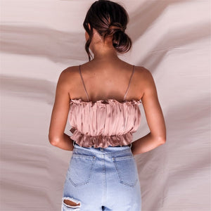 Ruched Satin Cami Crop Top