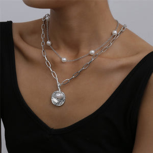 Pearl Coin Choker Necklace