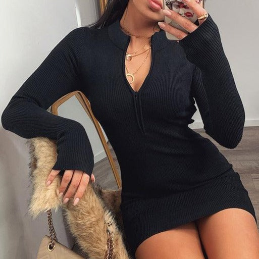 Black Half Zip Ribbed Mini Dress