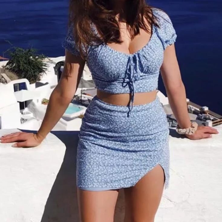 Blue Chiffon Vintage Co-Ord