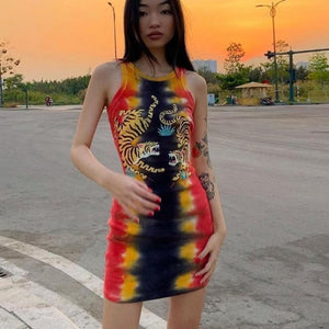 Tiger Pint Bodycon Dress