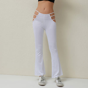 Hollow Cutout Flared Pants