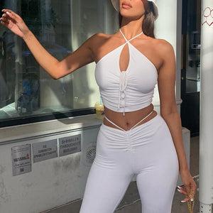 Drawstring Halter Top & Flare Pants Set