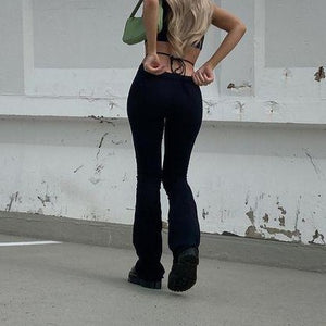 High Waist Cutout Bandage Flare Pants