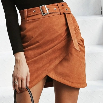 Suede belt skirt