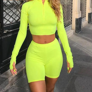 Neon quarter zip 2 piece