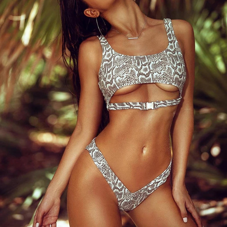 Snake Print Buckle Up Bikini