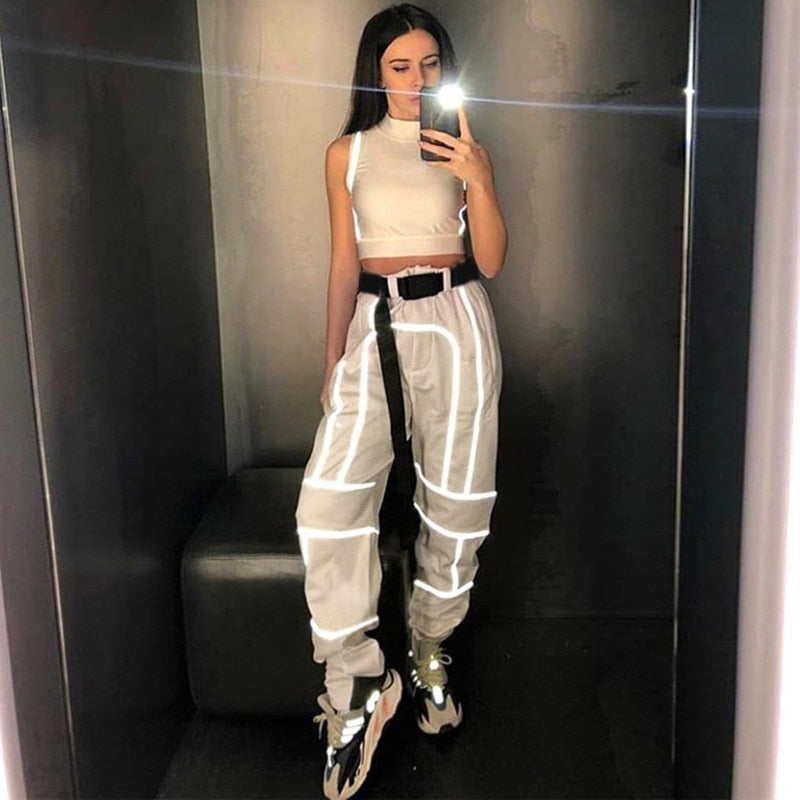 Reflective pattern cargo trousers