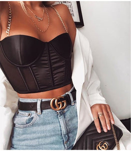 Satin Black Crop Top