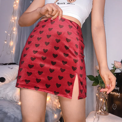 Red Velvet High Waist Skirt