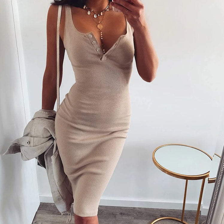Midi button dress