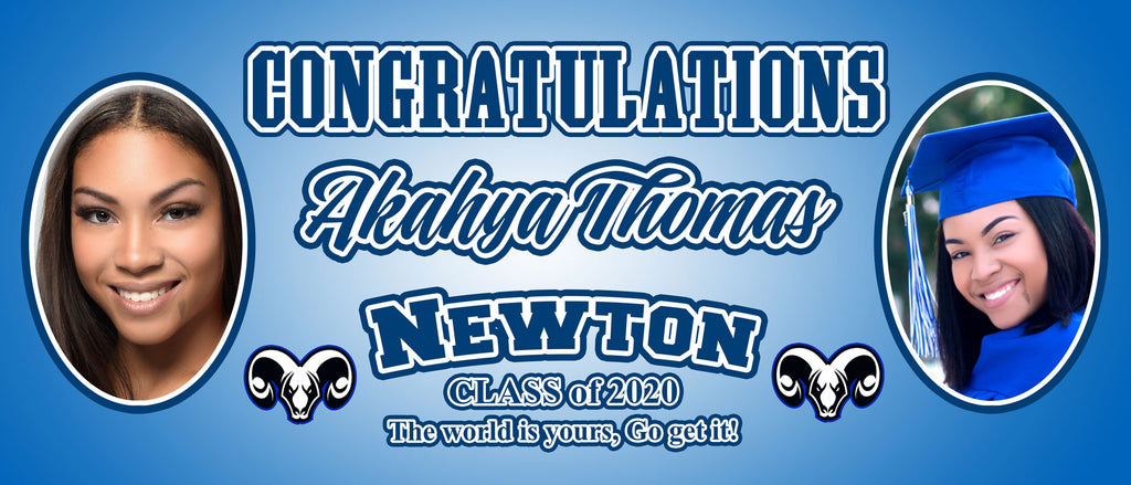 7ft x 3ft Graduation Banner - Customize to Any School