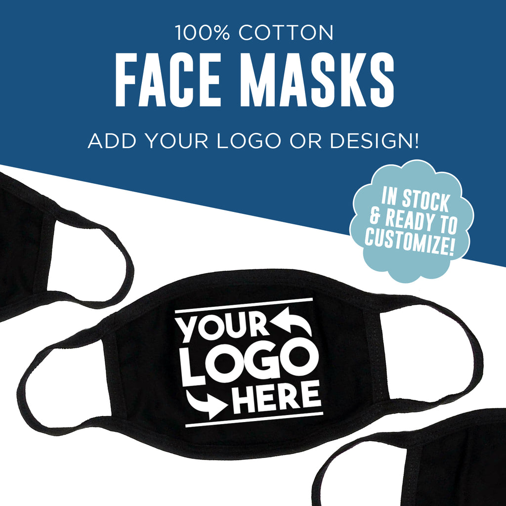 Custom Printed Wholesale Bulk Reusable Washable Cotton Face Masks - Made in USA - 3-Ply Construction - Screen Printed - Ships in 7 Days
