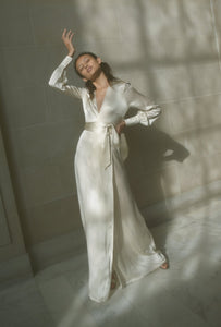 KAMPERETT ADELAIDE SILK MAXI WRAP DRESS | IVORY