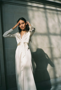 ADELAIDE SILK MAXI WRAP DRESS | IVORY