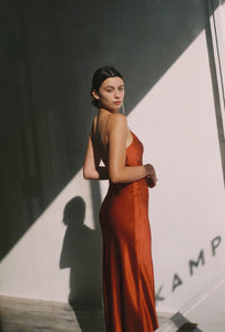 Caroline Silk Slip Dress | Rust