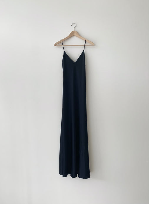 KAMPERETT | CAROLINE SILK SLIP DRESS | BLACK