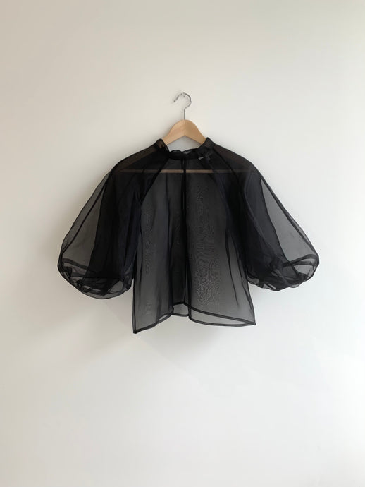KAMPERETT | MEIERE SILK ORGANZA BLOUSE | BLACK