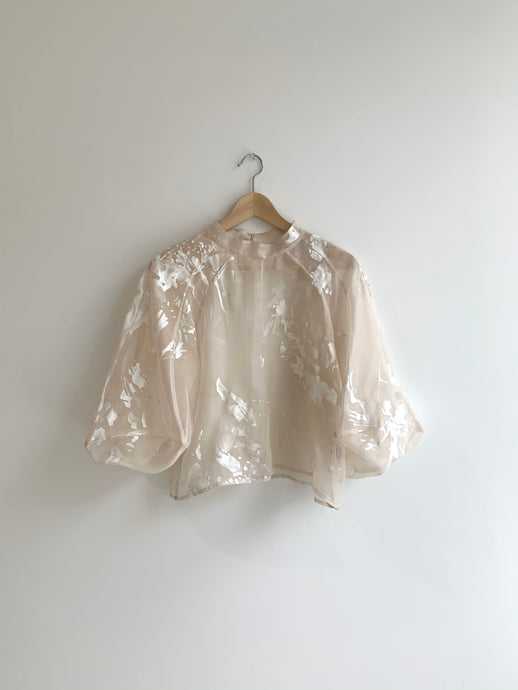 MEIERE SILK ORGANZA BLOUSE | DOVES PRINT | HAND-PAINTED TO ORDER
