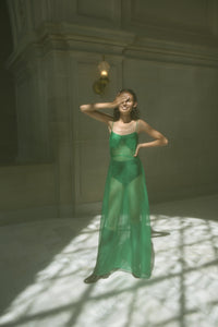 KAMPERETT RAE SILK ORGANZA DRESS | KELLY GREEN
