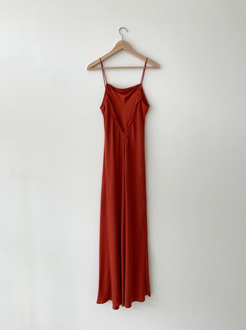 KAMPERETT | Long Silk Slip | Rust