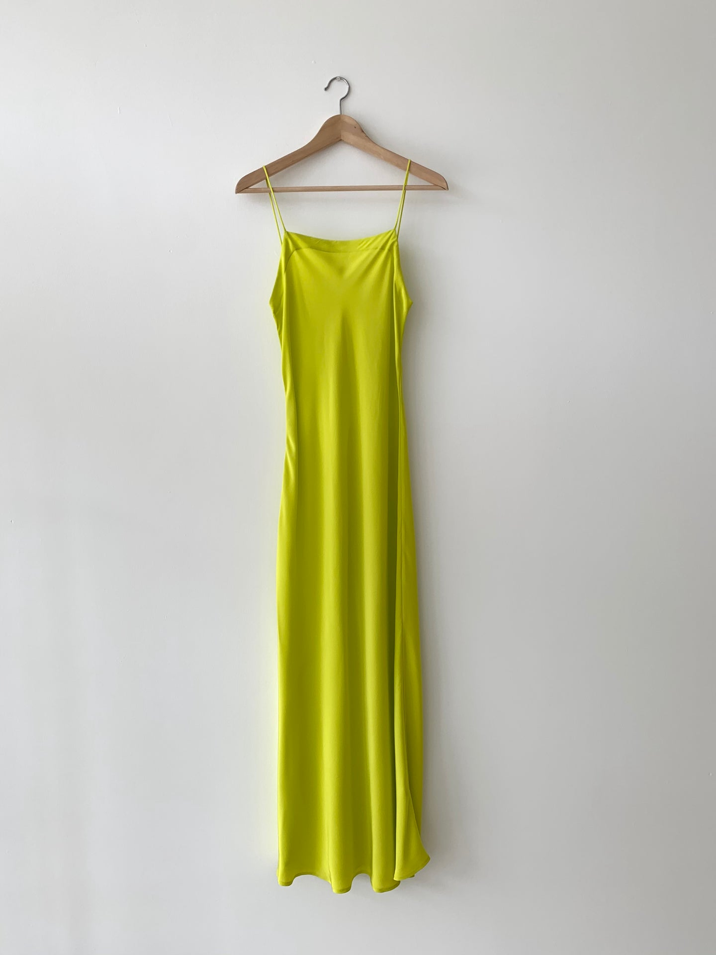 KAMPERETT | LONG SILK SLIP | CHARTREUSE
