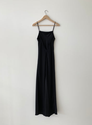 KAMPERETT | LONG SILK SLIP | BLACK