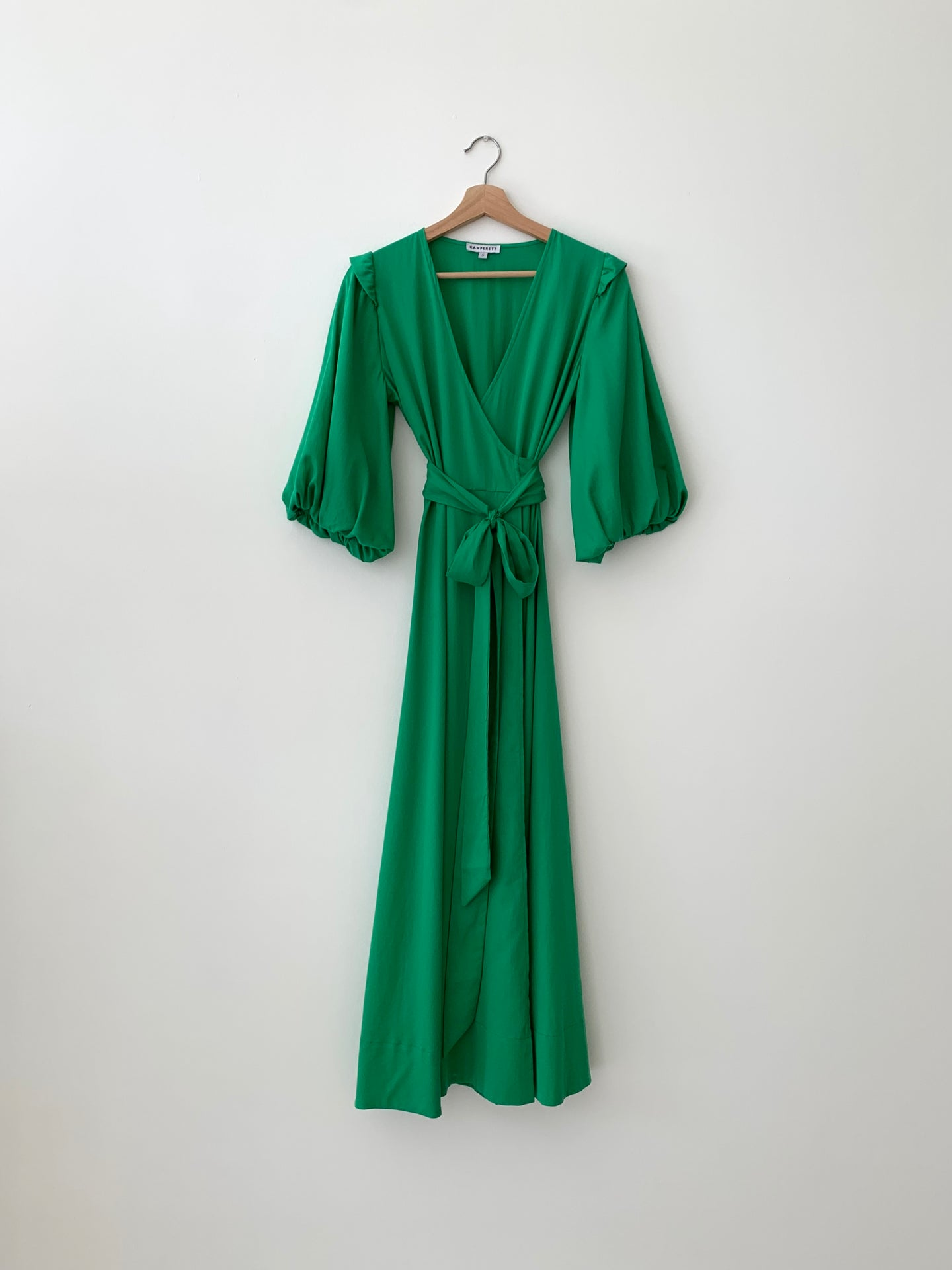 KAMPERETT | LORETTA COTTON MIDI WRAP DRESS | KELLY GREEN