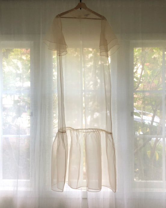 KAMPERETT | Barre Silk Organza Sheer Maxi Dress | Ivory