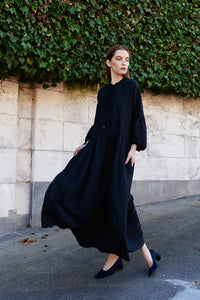 KAMPERETT | Ferou Silk Linen Midi Dress | Black