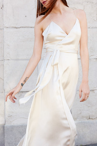 KAMPERETT | Nuit Silk Maxi Wrap Dress | Ivory