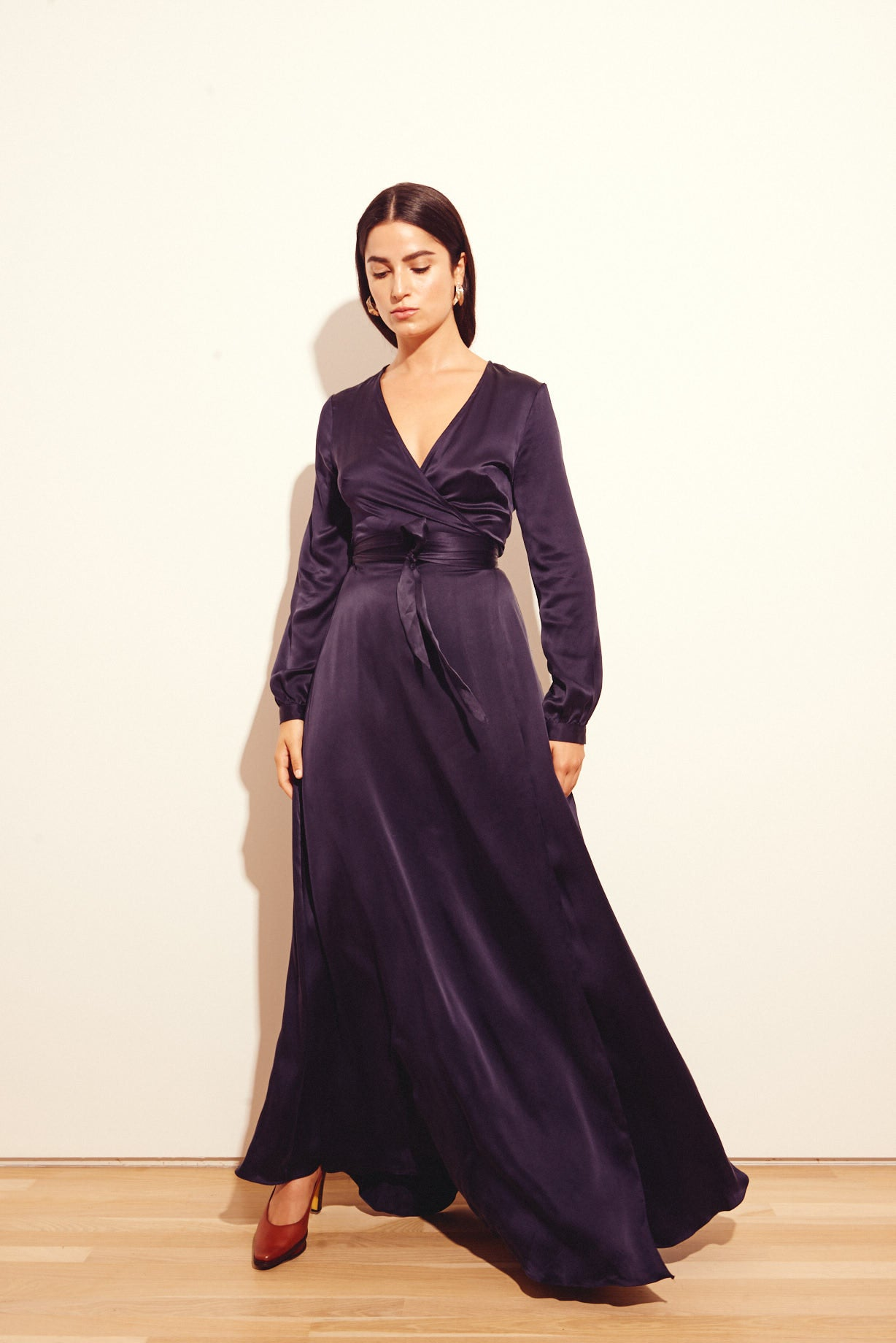 KAMPERETT | Linden Silk Maxi Wrap Dress | Midnight Navy