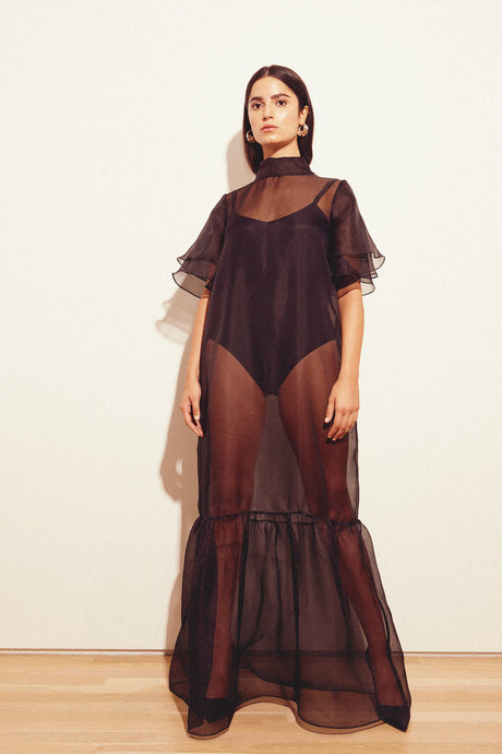 KAMPERETT | Barre Silk Organza Sheer Maxi Dress | Black