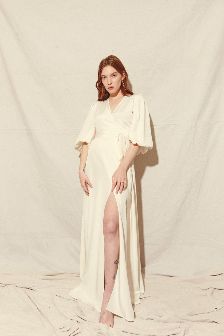 KAMPERETT | Loretta Silk Wrap Dress | Ivory