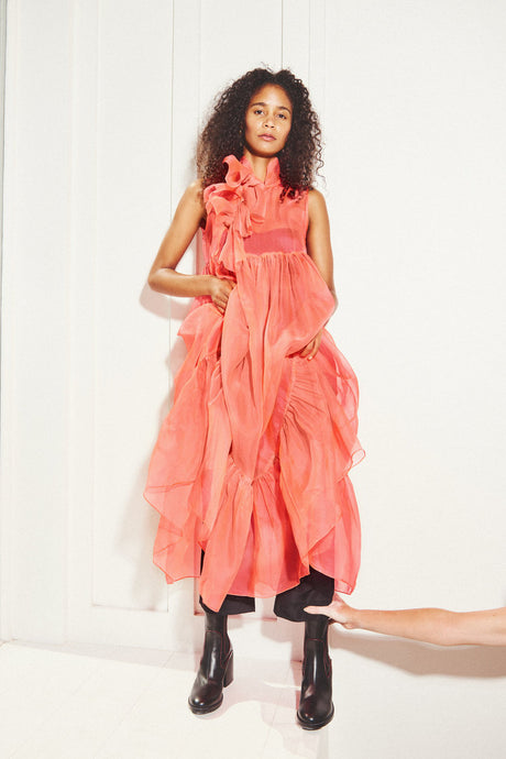 KAMPERETT | Mae Silk Organza Dress | Coral