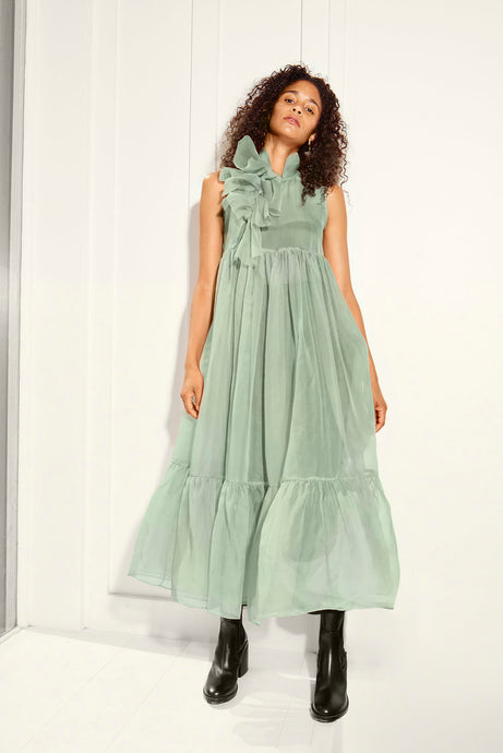 KAMPERETT | Mae Silk Organza Dress | Mint