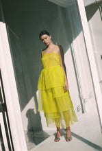 LAURENCE TIERED SILK ORGANZA MIDI DRESS | CHARTREUSE (MADE TO ORDER)