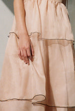 Load image into Gallery viewer, Kamperett Laurence Tiered Silk Organza Midi Dress | Blush