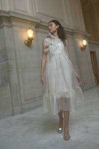 Kamperett Mae Silk Organza Dress | Ivory