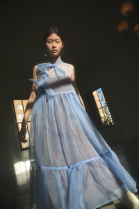 KAMPERETT Mae Silk Organza Dress | Cornflower