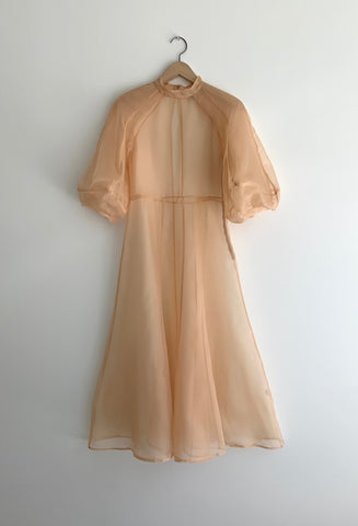 KAMPERETT | MEIERE SILK ORGANZA MIDI DRESS | BLUSH