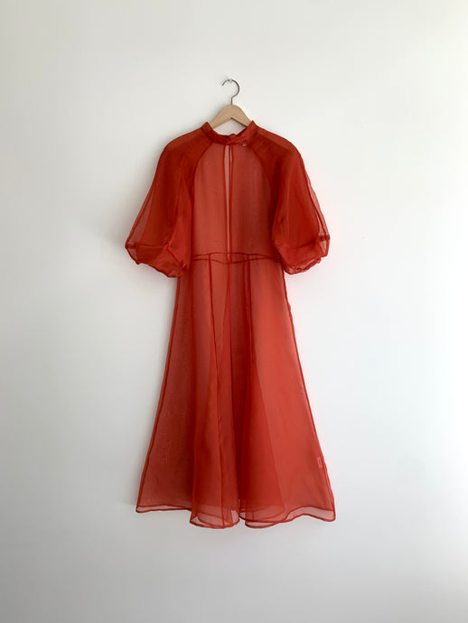 KAMPERETT | MEIERE SILK ORGANZA MIDI DRESS | RUST