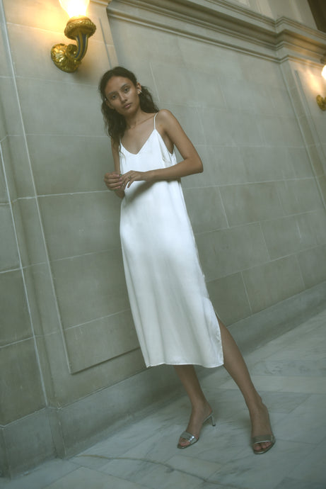 KAMPERETT SADE SILK SLIP DRESS | IVORY