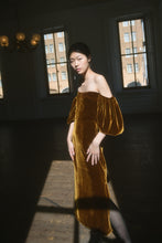 Load image into Gallery viewer, Verona Velvet Midi Dress | Gold