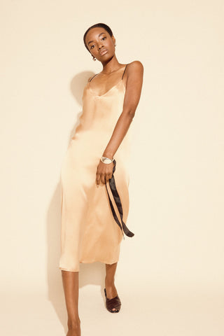 KAMPERETT | Sade Silk Slip Dress | Peach