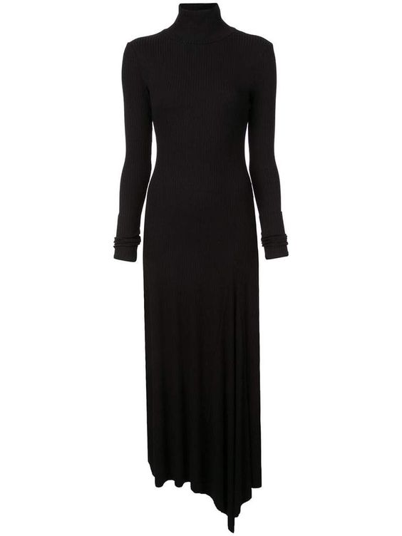 kamperett black rib knit turtleneck midi dress
