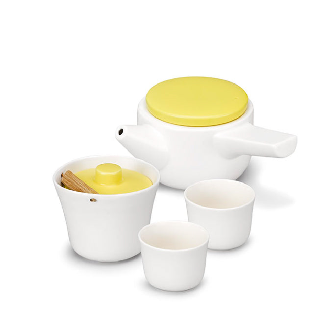 Evo Song Tea Set White Body with Yellow Lid