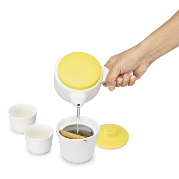 Evo Song Tea Set White Body with Blue Lid