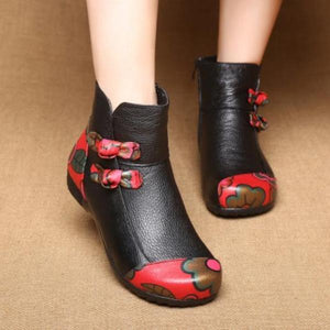 Fashion Ethnic   Style Leather Plush  Leather Cotton Boots