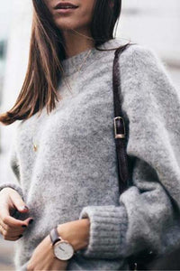 Loose Round Neck Set Of Mohair Knit Sweater